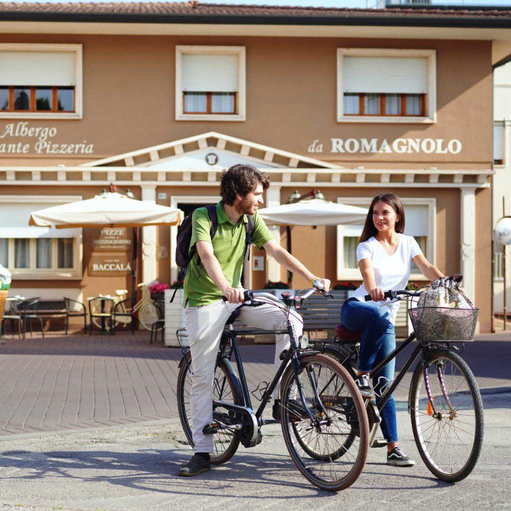 Cicloturisti ospiti all'hotel Romagnolo di Noventa Vicentina